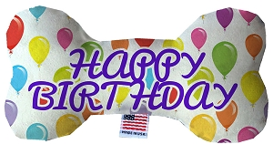 Happy Birthday Balloons Stuffing Free 6 inch Bone Dog Toy