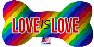 Love is Love Stuffing Free 10 inch Bone Dog Toy