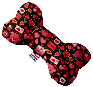 Valentines Day Bears Stuffing Free 8 inch Bone Dog Toy