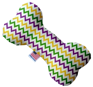 Mardi Gras Chevron Stuffing Free 10 inch Bone Dog Toy