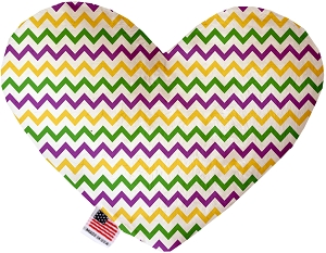Mardi Gras Chevron Stuffing Free 8 inch Heart Dog Toy