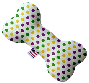 Mardi Gras Polka Dots 8 inch Heart Dog Toy