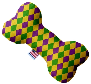 Mardi Gras Diamonds Stuffing Free 6 inch Bone Dog Toy