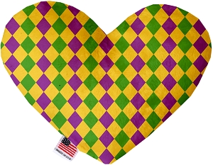 Mardi Gras Diamonds Stuffing Free 6 inch Heart Dog Toy