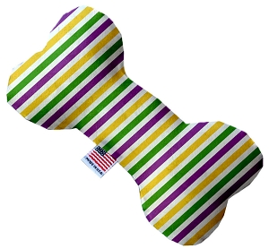 Mardi Gras Stripes Stuffing Free 8 inch Bone Dog Toy