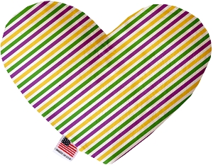 Mardi Gras Stripes Stuffing Free 6 inch Heart Dog Toy