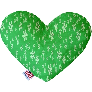 Green and White Snowflakes 6 inch Heart Dog Toy