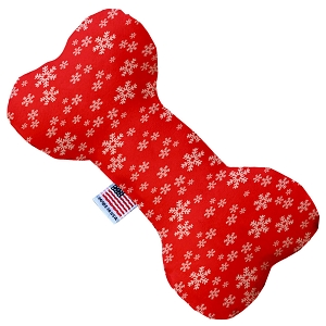 Red and White Snowflakes Stuffing Free 6 inch Bone Dog Toy