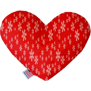 Red and White Snowflakes Stuffing Free 8 inch Heart Dog Toy
