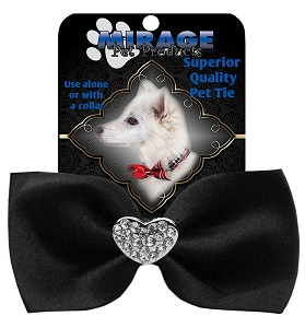 Crystal Heart Widget Pet Bowtie Black