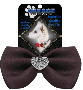 Crystal Heart Widget Pet Bowtie Brown