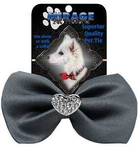 Crystal Heart Widget Pet Bowtie Grey