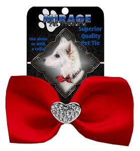 Crystal Heart Widget Pet Bowtie Red