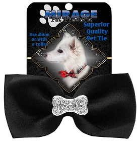 Crystal Bone Widget Pet Bowtie Black