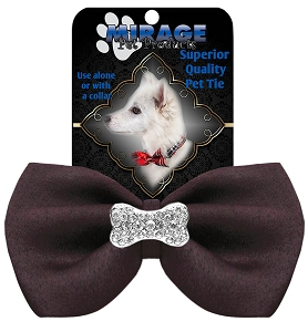 Crystal Bone Widget Pet Bowtie Brown