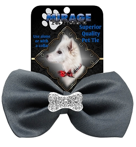 Crystal Bone Widget Pet Bowtie Grey