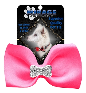 Crystal Bone Widget Pet Bowtie Hot Pink
