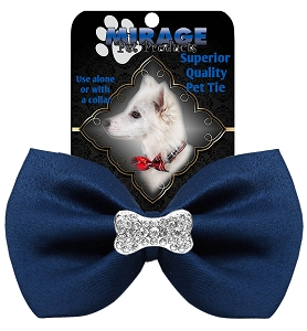 Crystal Bone Widget Pet Bowtie Navy Blue