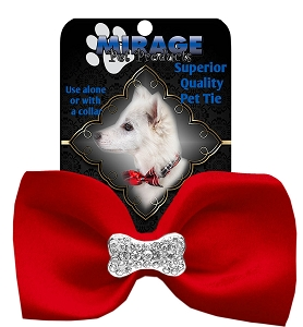 Crystal Bone Widget Pet Bowtie Red