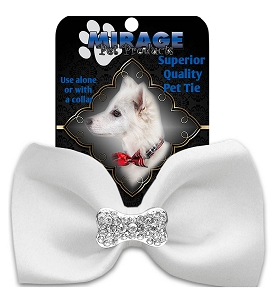 Crystal Bone Widget Pet Bowtie White