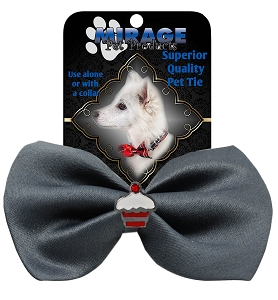 Cupcake Widget Pet Bowtie Grey