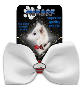 Cupcake Widget Pet Bowtie White