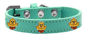 Chickadee Widget Dog Collar Aqua Size 14
