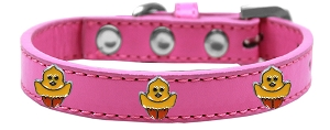 Chickadee Widget Dog Collar Bright Pink Size 20