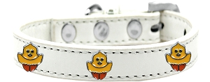Chickadee Widget Dog Collar White Size 12