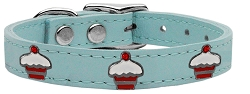 Red Cupcake Widget Genuine Leather Dog Collar Baby Blue 26