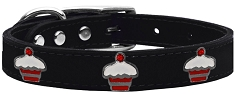 Red Cupcake Widget Genuine Leather Dog Collar Black 14