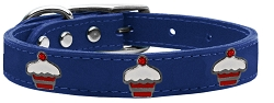 Red Cupcake Widget Genuine Leather Dog Collar Blue 18