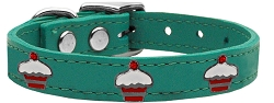 Red Cupcake Widget Genuine Leather Dog Collar Jade 24