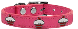 Red Cupcake Widget Genuine Leather Dog Collar Pink 16