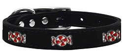 Peppermint Widget Genuine Leather Dog Collar Black 24