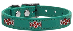 Peppermint Widget Genuine Leather Dog Collar Jade 14