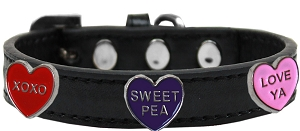 Conversation Hearts Widget Dog Collar Black Size 12