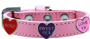 Conversation Hearts Widget Dog Collar Light Pink Size 18