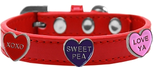 Conversation Hearts Widget Dog Collar Red Size 10