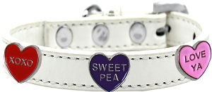 Conversation Hearts Widget Dog Collar White Size 18