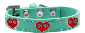 Paw Heart Widget Dog Collar Aqua Size 20