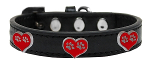 Paw Heart Widget Dog Collar Black Size 12