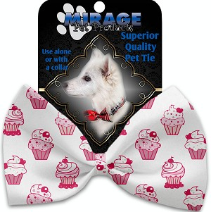 Pink Whimsy Cupcakes Pet Bow Tie