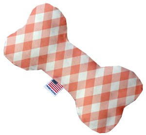 Peach Plaid 10 inch Stuffing Free Bone Dog Toy