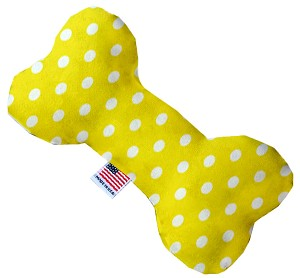 Yellow Polka Dots 10 inch Stuffing Free Bone Dog Toy