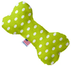 Lime Green Polka Dots 10 inch Stuffing Free Bone Dog Toy
