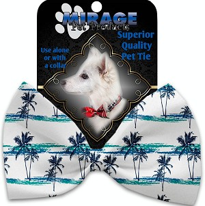 Palm Tree Paradise Pet Bow Tie Collar Accessory with Velcro