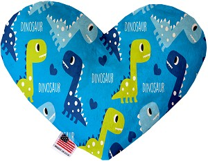 Blue Dinosaurs 8 Inch Heart Dog Toy