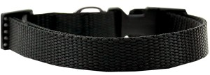 Plain Nylon Dog Collar XL Black