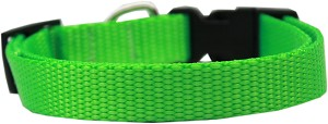 Plain Nylon Dog Collar SM Hot Lime Green